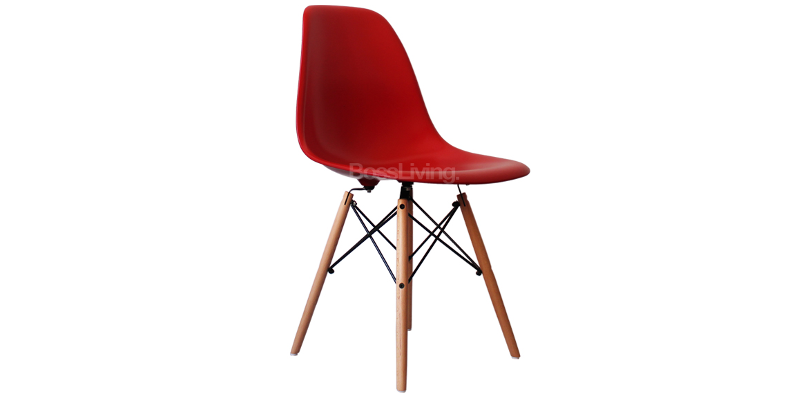 Charles ray eames style dsw side chair natural legs red for Rocking chair dsw