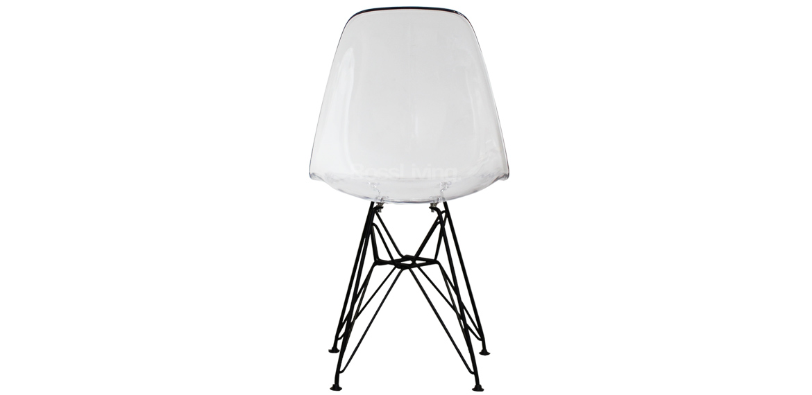 Charles Ray Eames Style Dsr Side Chair Black Legs Clear