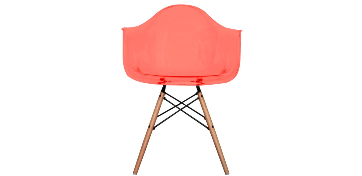 Charles Ray Eames Style DAW Arm Chair Ghost Red