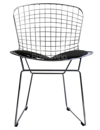Wire Side Chair, Harry Bertoia Inspired U2013 Chrome With Black Cushion