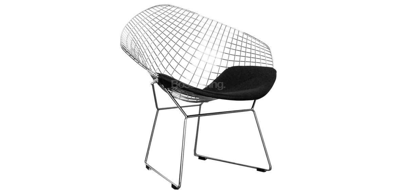 Wire Diamond Chair, Harry Bertoia Inspired - Chrome With Black ...