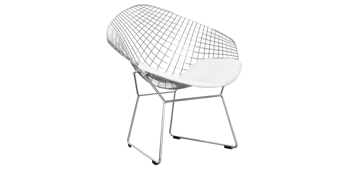 Wire Diamond Chair, Harry Bertoia Inspired - Chrome With White ...
