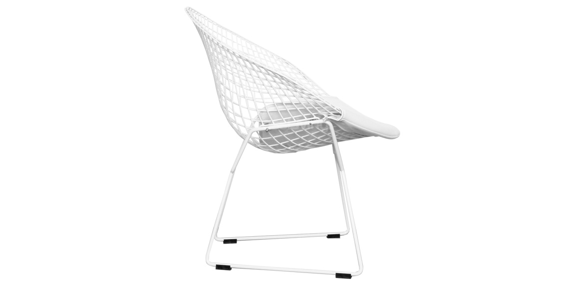 Wire Diamond Chair Harry Bertoia Inspired White With