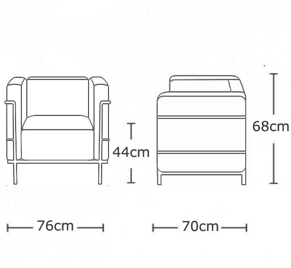 le corbusier lc2 petit armchair black leather boss. Black Bedroom Furniture Sets. Home Design Ideas