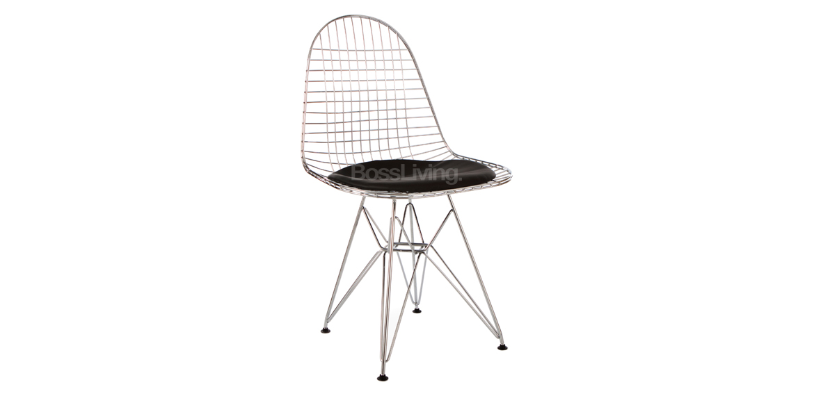 charles ray eames style dkr wire side chair chrome with black