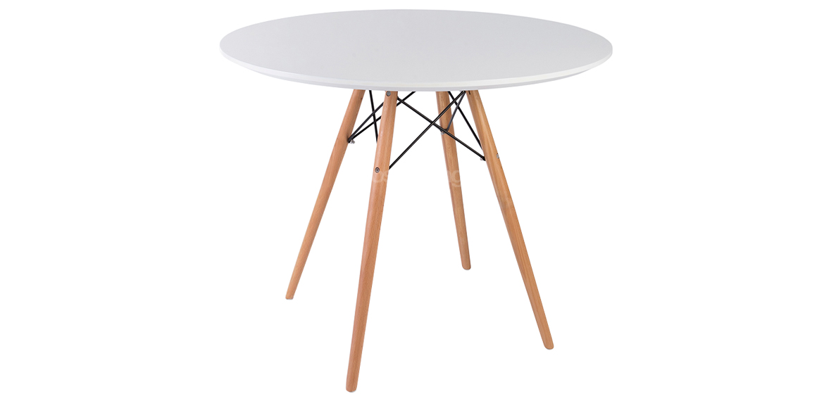 charles  u0026 ray eames style white round dining table natural legs - 90 cm