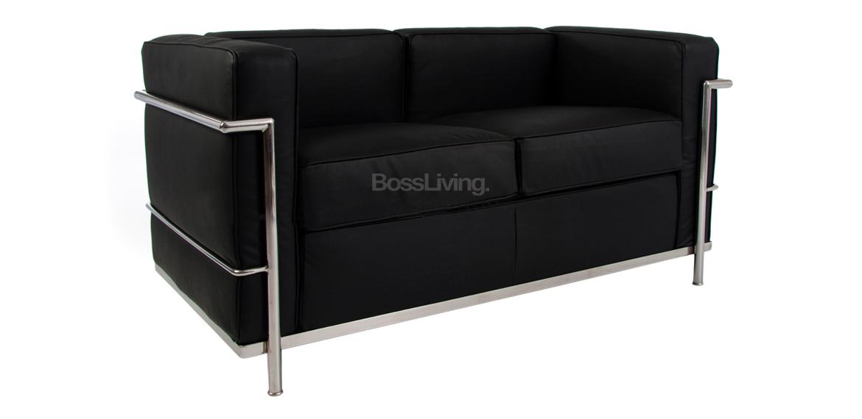 Le Corbusier LC2 Petit 2 Seat Sofa - Black Leather