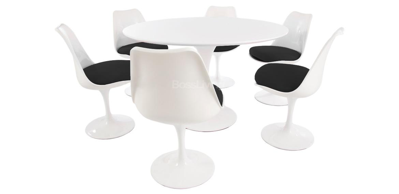 Eero Saarinen Set Black 120 Cm White Tulip Style Table