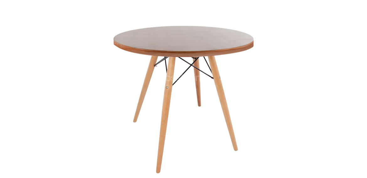 Charles ray eames style walnut round coffee table for Eames style coffee table