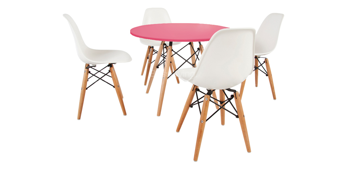 Peachy Kids Set Eames Dsw Style Pink Table 4 Chairs Bralicious Painted Fabric Chair Ideas Braliciousco