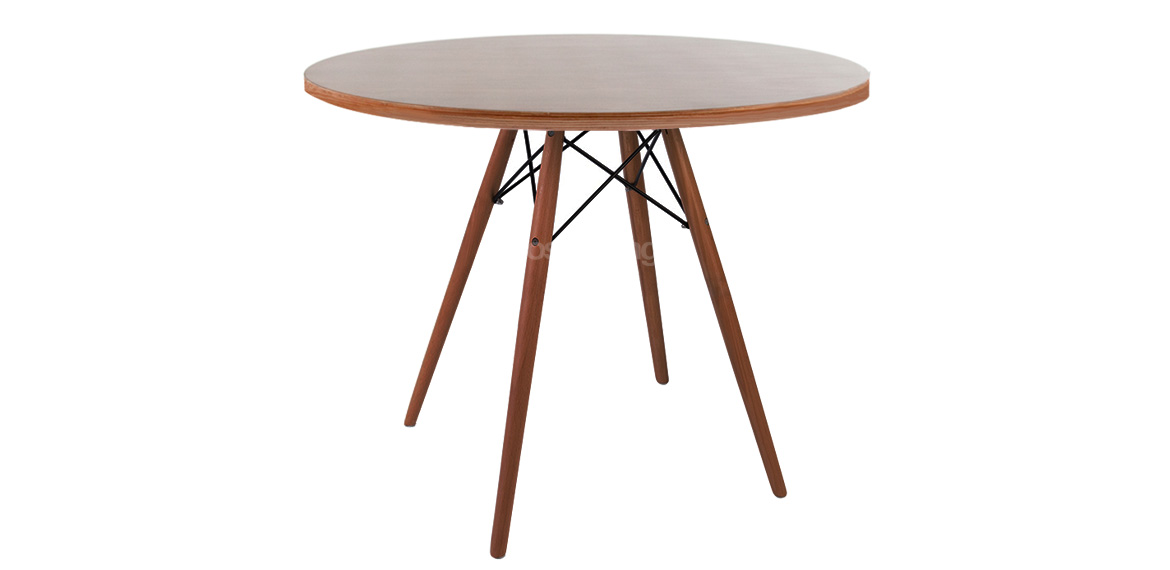 Charles Amp Ray Eames Style Walnut Round Dining Table Walnut