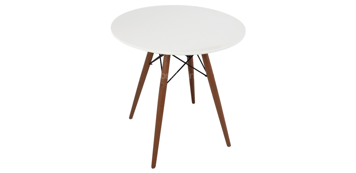 Charles Amp Ray Eames Style White Round Coffee Table Walnut
