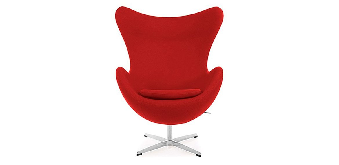 Arne Jacobsen Style Cashmere Egg Chair Red Boss Livingboss Living