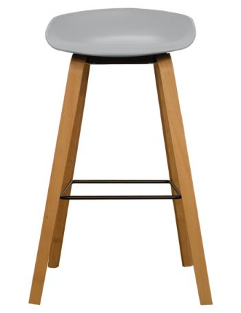 Vogue Low Back Natural Hay Bar Stool - Cool Grey Front